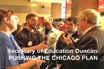 A caucus of rank-and-file educators try to talk to Secretary of Education Arne Duncan at a Chicago speech at the Hyatt, but are turned back. Photo: Labor Beat.