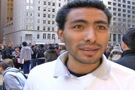 Hugo Dominguez, one of the undocumented who spoke at the rally. Photo: David Vance/Labor Beat.