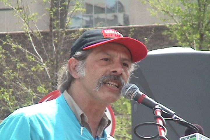 Jorge Mujica of the March 10 Committee speaks at Haymarket Square, May Day 2007. Photo: Dave Vance, Labor Beat