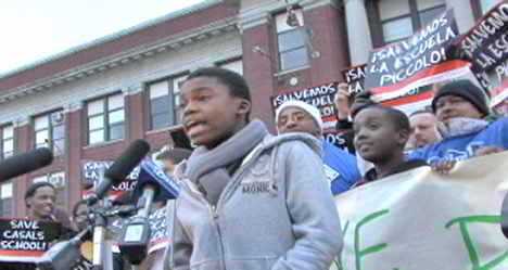 Student Larry Davis addresses the rally at Piccolo Elementary School. Photo: Labor Beat.