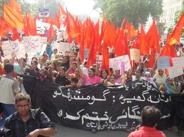 Labour Party of Pakistan protests rice price hikes. Photo: Khalid Mahmood, Labour Education Foundation, Pakistan.