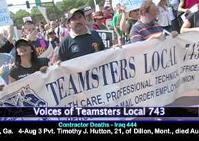 Teamsters 743 contingent at RNC Protest. Photo: Labor Beat.