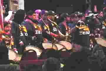 SEIU drum and bugle corps (Labor Beat photo)