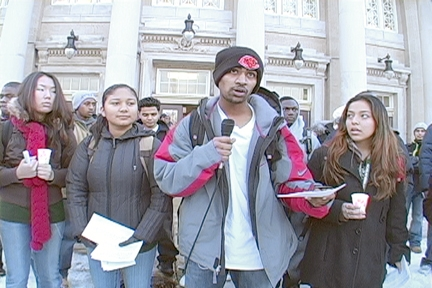 Students tell the plan for Senn. Photo: Labor Beat