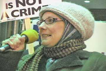 Kirstin Szremski, American Muslims for Palestine - Director of Media and Communications. Protest at Federal Building, Chicago 12/6/10. Photo: Labor Beat.