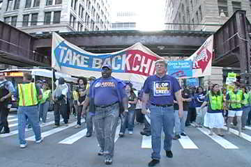 Take Back Chicago contingent in feeder march from the Hyatt. Photo: Labor Beat.