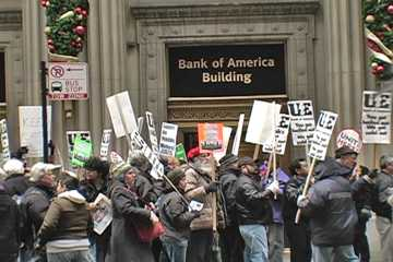 Republic Workers protest at Bank of America. Photo: Labor Beat.
