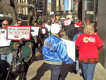 Chicago area workers protest at Consulate General of Britain on Michigan Ave. Photo: Labor Beat.