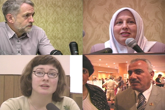 Clockwise starting at upper left: Jeremy Corbyn, Hashmeya Muhsin Hussein, Ewa Jasiewicz, Faleh Abood Umara.  Photo: Larry Duncan/Labor Beat.
