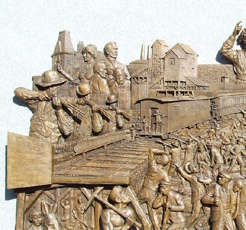 Detail of the Virden coal miners monument.